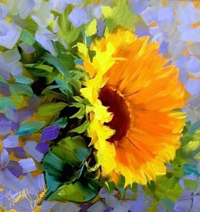Dulce de Leche Sunflower by Nancy Medina Oil ~ 14 x 14