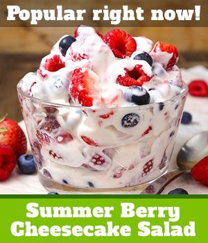 Summer Berry Cheesecake Salad. Use honey, cream, and vanilla (at bottom of recipe) instead of coffee creamer.