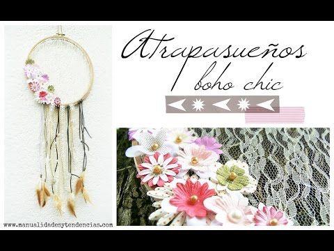 Manualidades y tendencias: Tutorial atrapasueños boho chic   www.manualidadesytendencias.com #atrapasueños #dreamcatcher #boho #chic #lace #encaje #diy #tutorial
