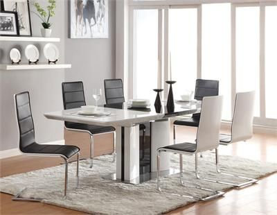 Nordica Contemporary Black White Dining Table Set