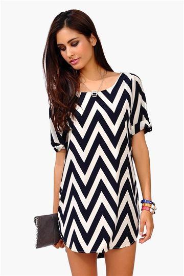 Necessary Clothing Cory Chevron Dress - Navy $35