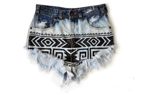 again, wish i could pull this off. tribal print high-waisted shorts - $35.00