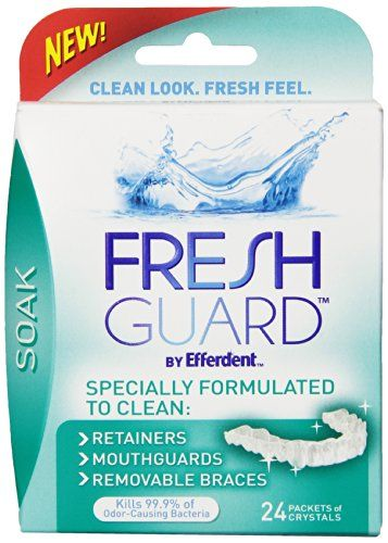 """Use #Fresh Guard by Efferdent  Soak to clean your retainers, mouth guards, clear braces or other removable braces. Delivers a complete clean you can see, feel a..."