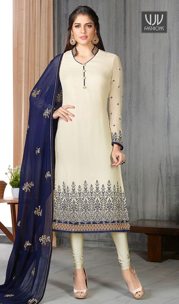 Elegant White Embroidered Work Georgette Designer Salwar Suit  Add a vibrant burst of color to your wardrobe with this off white faux georgette designer salwar suit. This attire is beautifully adorned with embroidered and patch border work.