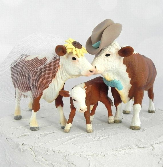 Hereford Cow Bull And Calf Family Wedding Cake Topper With