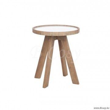 J-Line Ronde houten bijzettafel met keramiek wit blad -naturel 45
