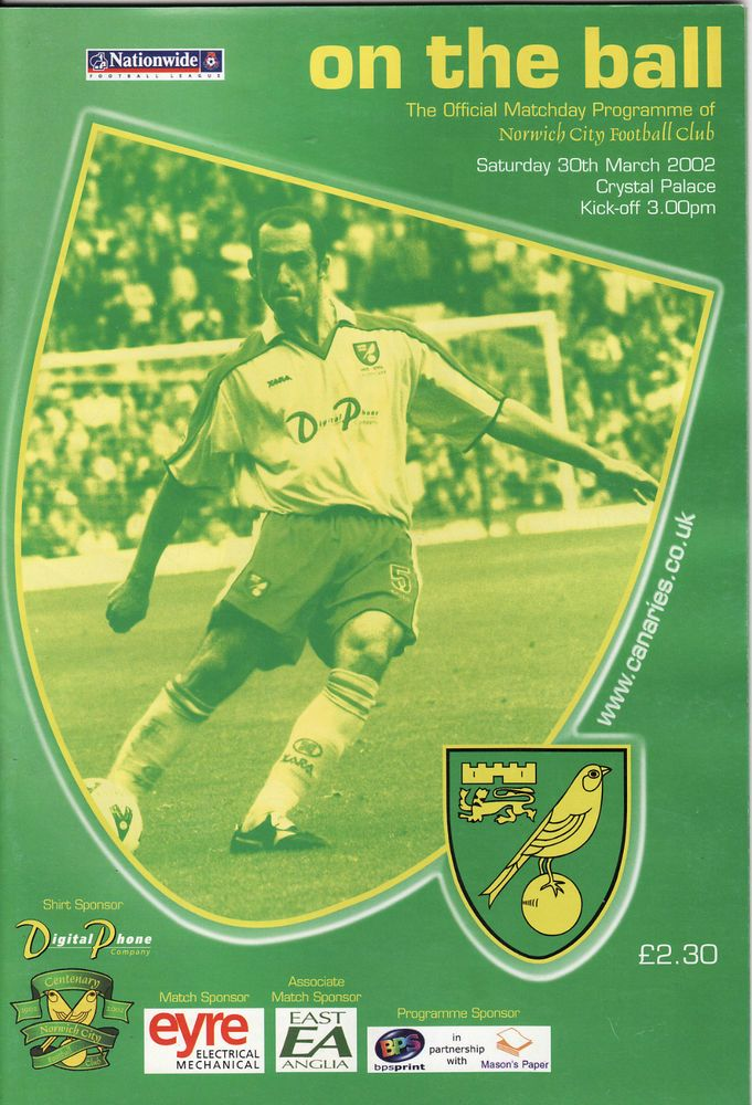 NORWICH CITY v CRYSTAL PALACE. First Division 2001/02