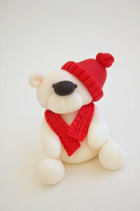 Handmade Fondant Christmas Teddy Bear Cake Topper/Decoration. £15.00, via Etsy.