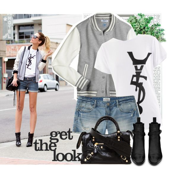 """Blogger style:Letterman Jacket + Denim shorts + Black boots"" by cheappromgowns on Polyvore"