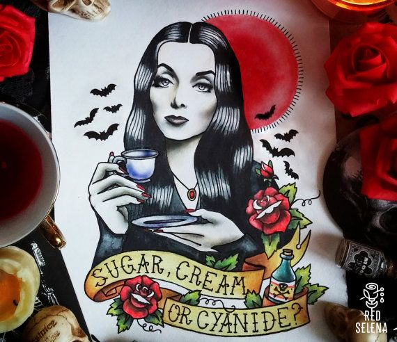 Original painting Not a print Morticia Addams Tattoo by RedSelena
