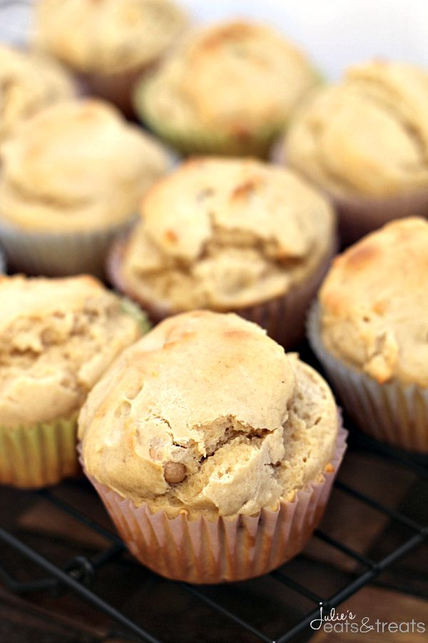 Easy Peanut Butter Muffins ~ Load these Yummy Peanut Butter Muffins with Jam for a Fun Twist on Your Typical Peanut Butter & Jelly Breakfast...