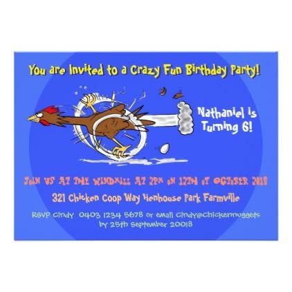 Funny Chicken 6 Year Old Birthday Invitation
