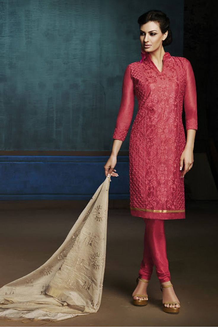 Chanderi Casual Wear Churidar Suit in Red and Beige Colour .It comes with matching Dupatta and Bottom.It is crafted with Embriodery...