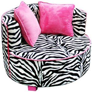 Fun Cool & Funky Bedroom Ideas for Teen Girls : Hot Pink & Zebra Striped Chair