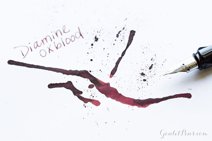 For a deep dark red fountain pen ink, look no further than Diamine Oxblood. Check out our ink review of this well-behaved ink. Pin for later.