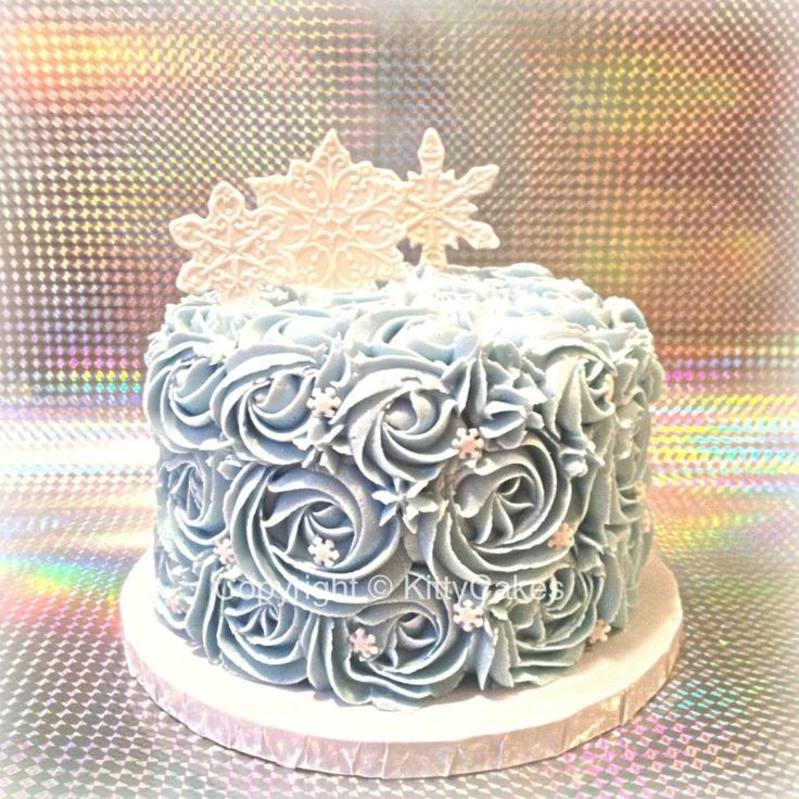 An adorable blue rosette cake covered in snowflakes. This beauty was smashed to smithereens by a lucky baby for the talented Stephanie Webster Photography and design.