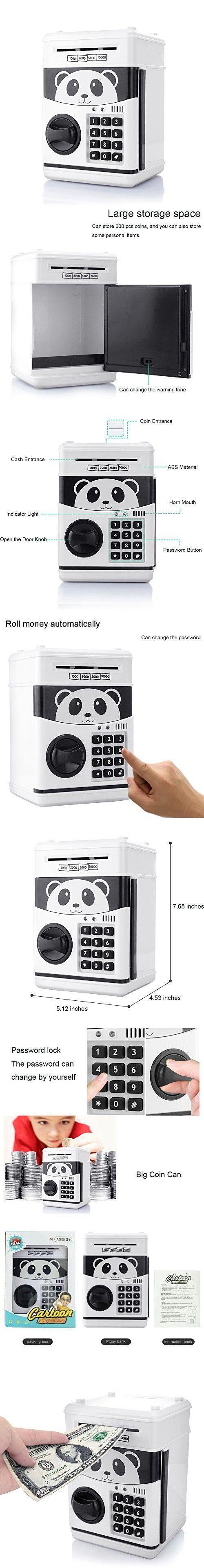 Jhua Cartoon Piggy Bank Cash Coin Can Pword Electronic Money Safe Saving Box Atm