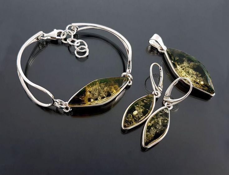 925 Silber Set Anhänger mit Ohrringe, Armband mit grüner Bernstein, NEU (SB699) in Uhren & Schmuck, Echtschmuck, Schmucksets | eBay!