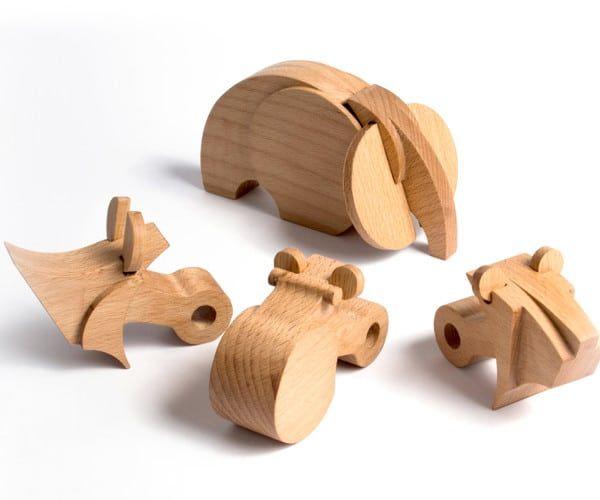 Pack 4 animaux en bois