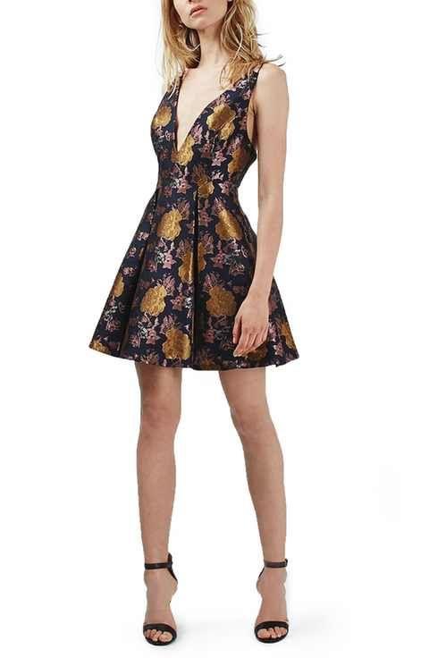 Topshop Floral Jacquard Plunge Minidress