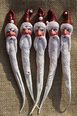 A Little Fur in the Paint...DIY sculpted Santas formed on a dried Okra pod.