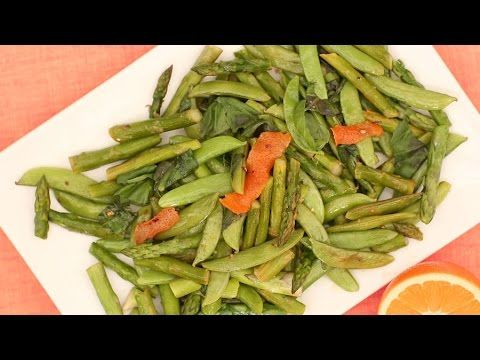 Asparagus and Snap Peas with Orange Chile Oil - Everyday Food with Sarah Carey - YouTube