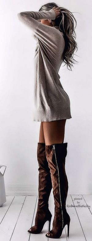 Sweatshirt dress long sleeve tshirt long sleeve shirt sweater dress with brown thigh high boots suede boots over the knew boots heels booties