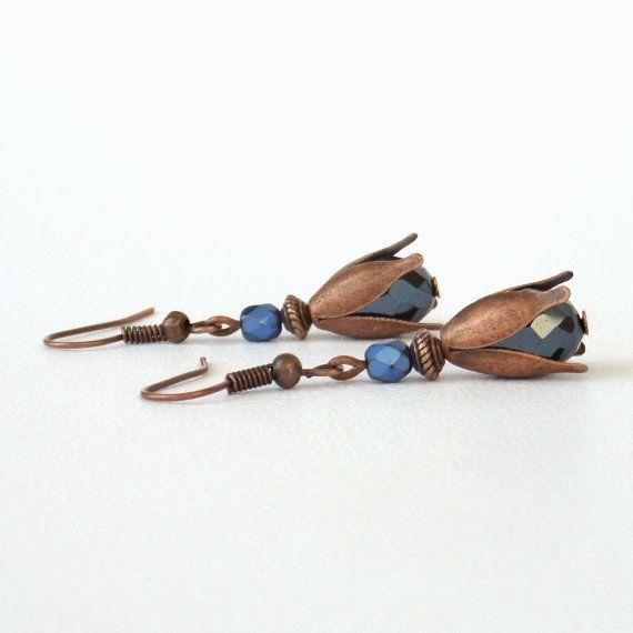 Cristallo e orecchini di rame regali di BeadstormJewellery su Etsy