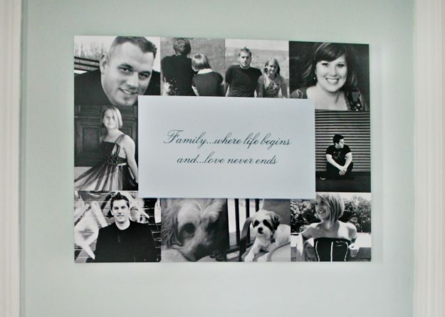 Dimensional wall art is a great way to showcase your favorite family photographs and a quote