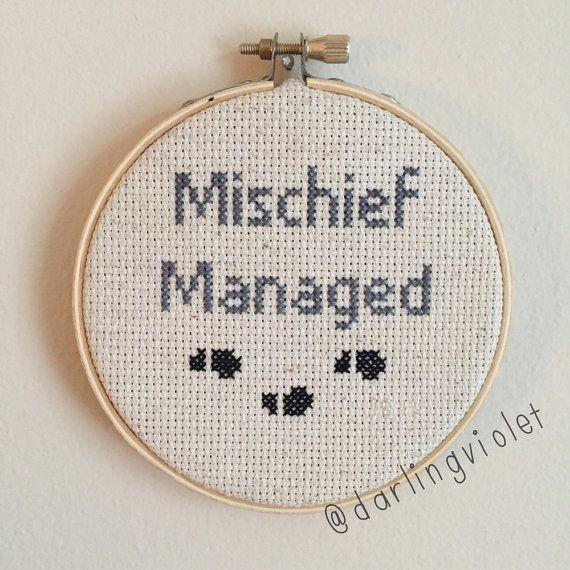 Harry Potter Mischief Managed Cross Stitch by DarlingVioletStitch