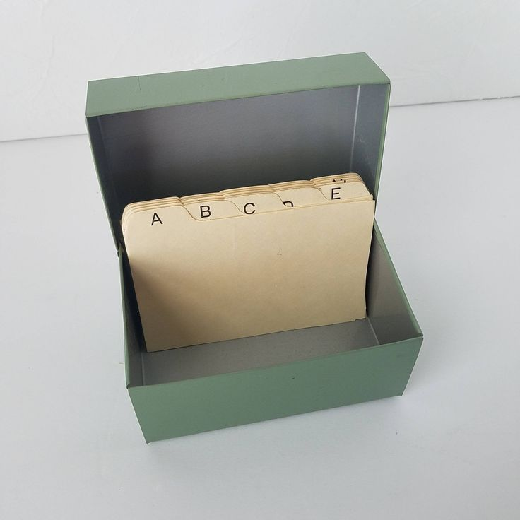 File box 3x5 vintage metal index card green dividers by