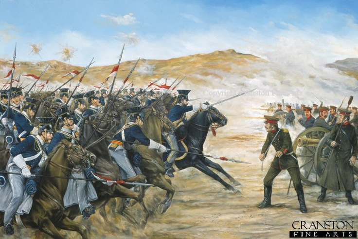 Charge of the 17th Lancers at the Battle of the Balaclava by Brian Palmer. After taking horrendous casualties during the infamyous charge, the 17th Lancers were the 1st to reach the Russian guns at the end of the Valley. From the 673 men who started the charge, 113 men were killed & many others wounded, made up of the 4th & 13th Light Dragoons, 8th &11th Hussars, & the 17th Lancers. A spectating French officer, Gen. Pierre Bosquet proclaimed - It is magnificent, but it is not war