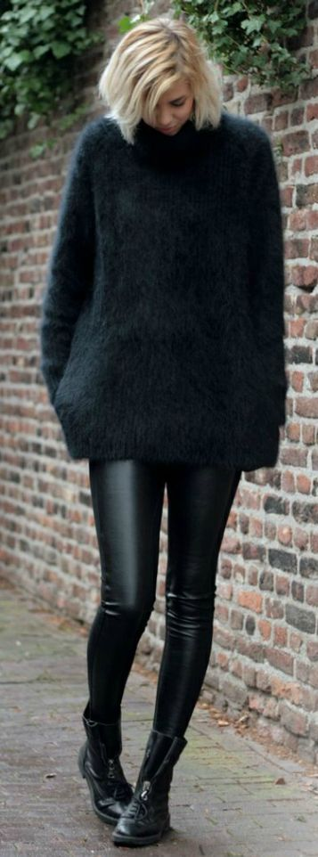 Black Oversize Fuzzy Sweater by LadyAddict
