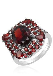 Johareez Silver /Red  Sterling Silver Blue Topaz Ring Online Shopping Store