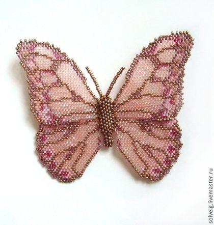 Броши ручной работы. Ярмарка Мастеров - ручная работа Розовая бабочка. Handmade.