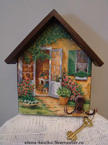 """Ключница """"Мой уютный дом"""" - ключница,Декупаж,подарок,дерево,акриловые краски и лак"""