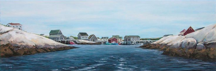 The other side of the picture. Most of us see Peggy's Cove from within the village, but the local fishers, for hundreds of years, have seen their home through this narrow gut between cliffs of granite as they make their way out to sea. DETAILS 36″x12″ Acrylic on Canvas DATE 2013 Original Painting Sold. Also…
