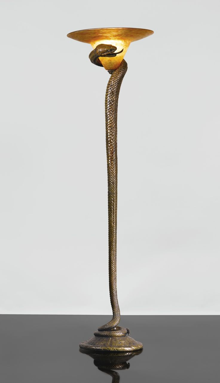 """EDGAR BRANDT AND DAUM """"LA TENTATION"""" FLOOR LAMP base impressed E. BRANDT, the shade engraved Daum Nancy France with the Croix de Lorraine gilt wrought iron and cameo glass 65 in. (165.1 cm) high 18 1/8 in. (46.4 cm) diameter of shade circa 1925"""