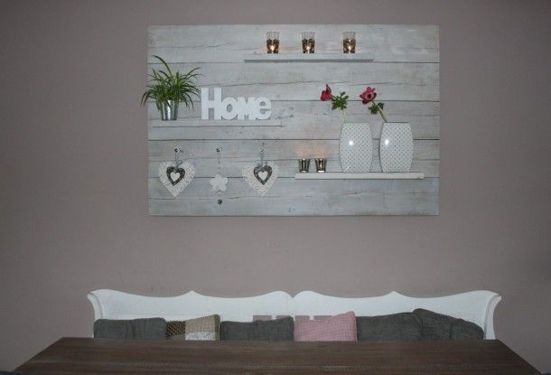 Decoratiebord steigerhout pinterest - Deco leisteen muur ...