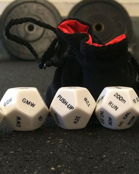 CrossFit Dice Wondering what WOD to do? Literally roll these dice, and you've got a ready-made routine you can do at home or on the road. With more than 2 million combinations possible, it's impossible to get bored. Roll all six 12-sided dice, or use just the rep die and one movement die, and keep rolling to see what to do next. The accompanying booklet provides modifications and substitutions in case you don't have some equipment.