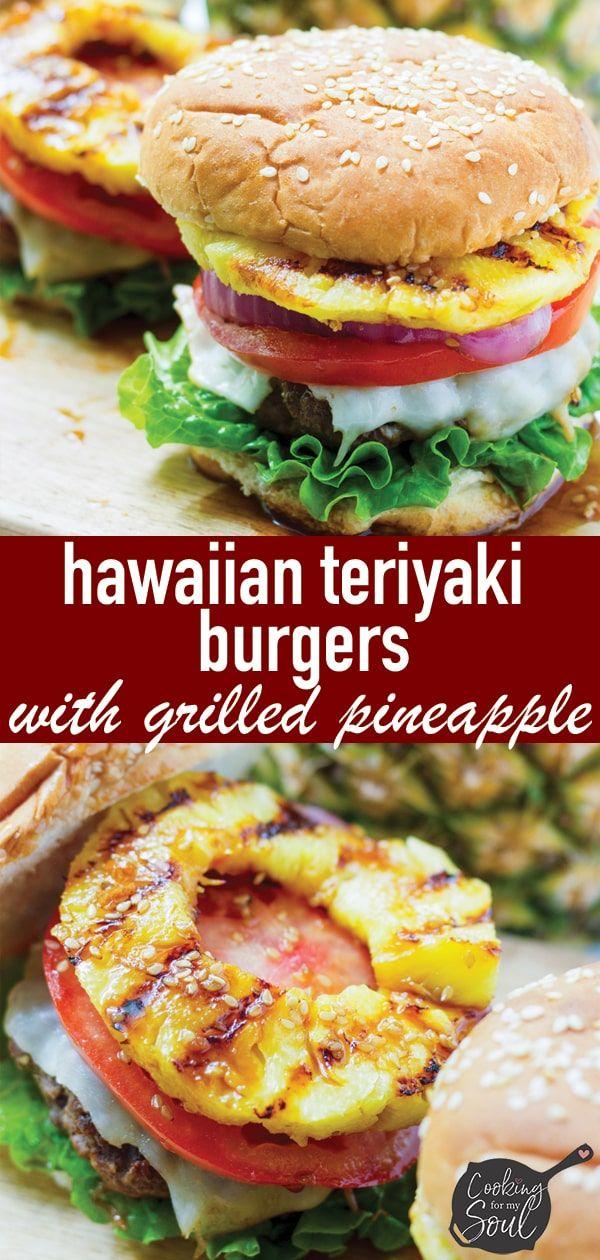 Hawaiian Teriyaki Burgers Recipe Teriyaki Burgers Summer Grilling Recipes Grilled Pineapple