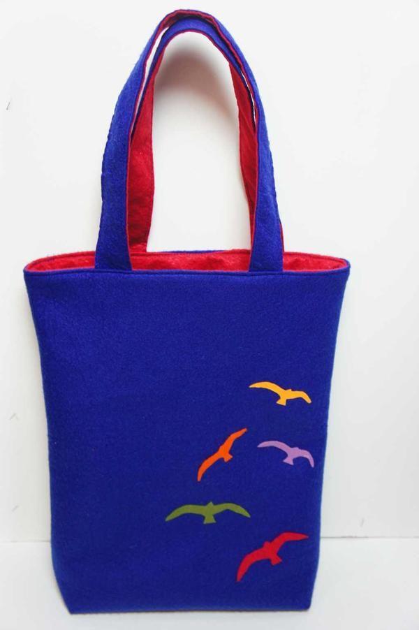 Martılı keçe çanta