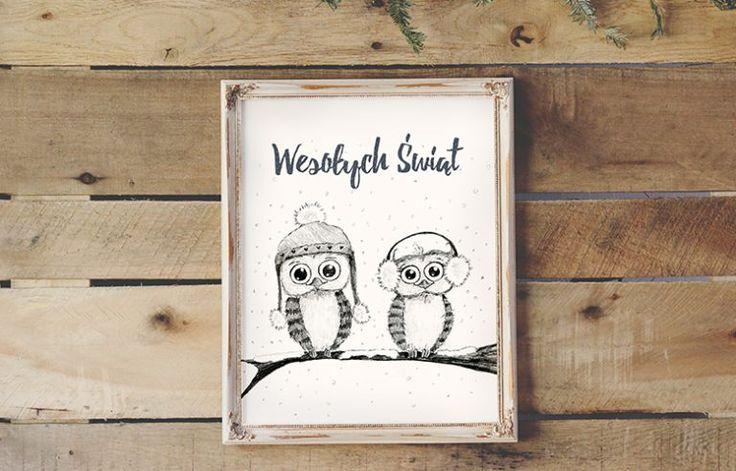 Plakat świąteczny za darmo - sówki 30x40 cm  Free christmas poster for kids - owl