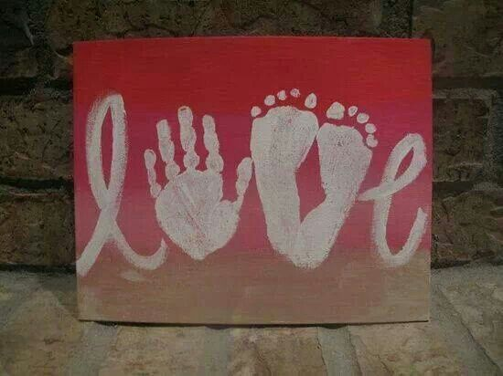 Love sign made with hand and feet