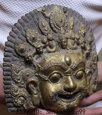 "7""Tibet Buddhism 100% Bronze Gold Mahakala Buddha death's-head Snake Mask Statue"