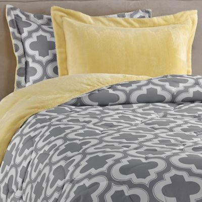 Charlie Printed Reversible Plush Down Alternative Comforter Set in Yellow/Grey - BedBathandBeyond.com