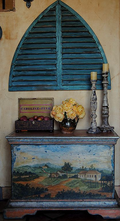 Like the shutters.  image cindy hattersley design, folk art chest painted