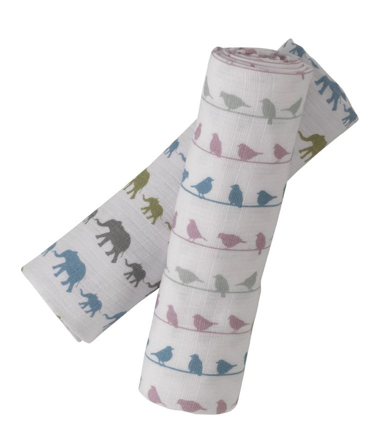 Muslin swaddle wraps, bird and elephant design in organic cotton by Pigeon.