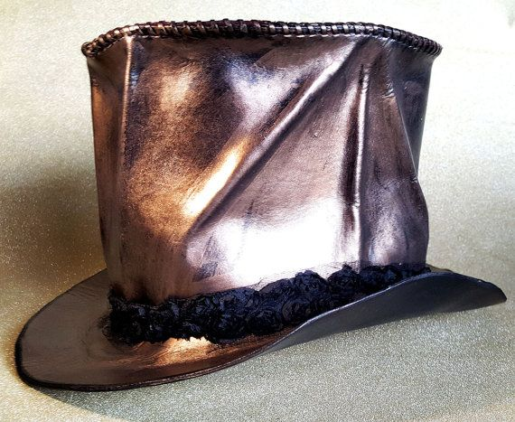 Steampunk - Bronzed Leather Top Hat by MoonlightWares