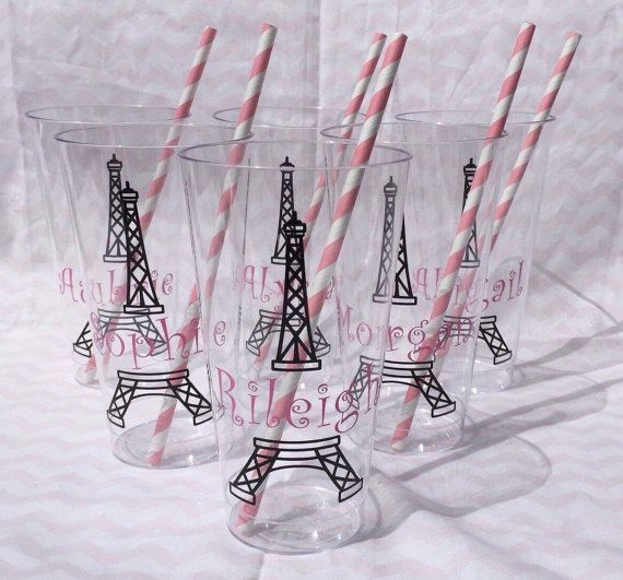 Paris Birthday Party Cup Favor Cups Girls by GeorgianGraceDesigns